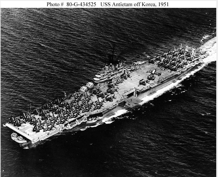 ANTIETAM FIRST SHIP UN YELLOW SEA 1945 OCT 24
