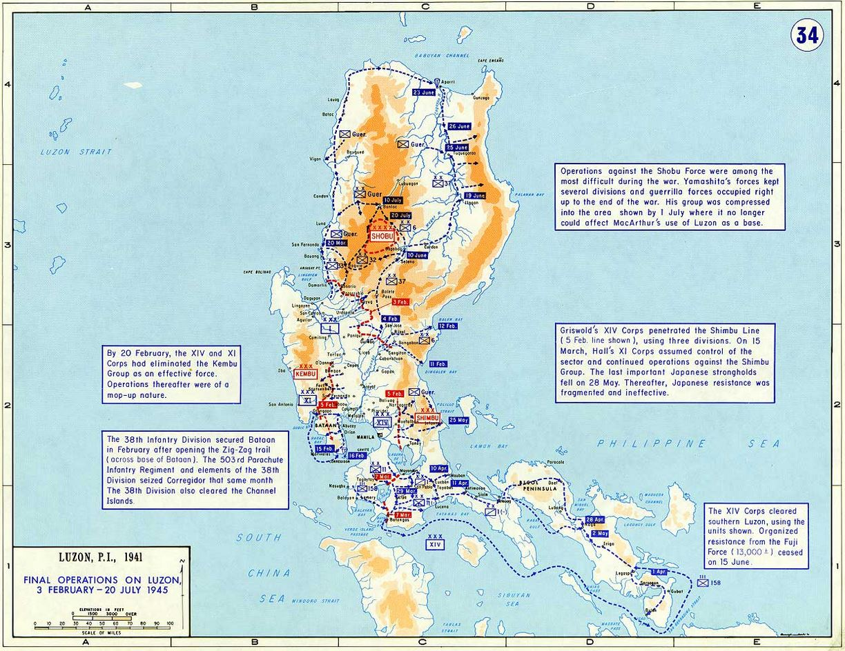 PHILIPPINES -MANILA -END OF BATTLE OF LUZON