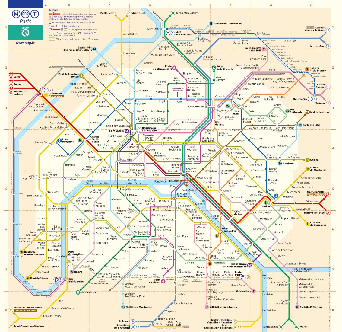 plan carte  RER PARIS map RER PARIS