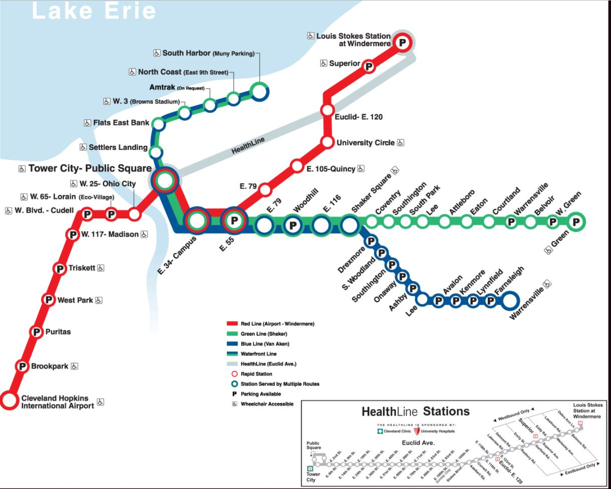 Cleveland metro by FPDIEULOIS   METRO MAP   RER PLAN CARTE