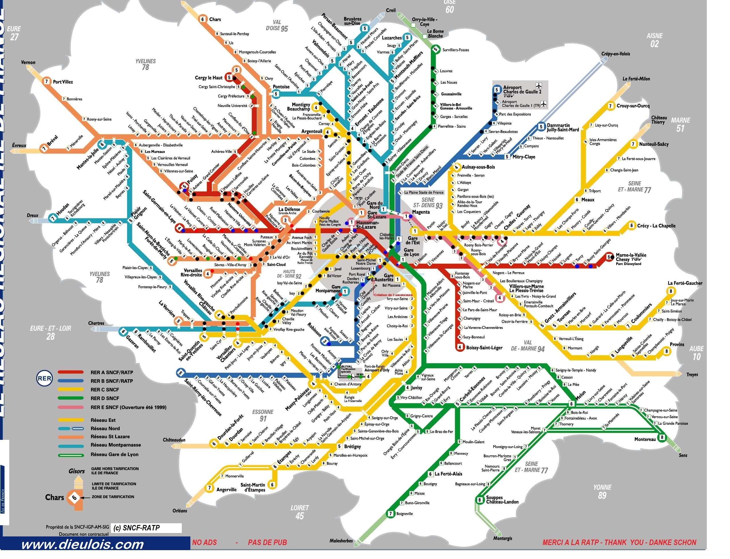 Plan paris rer plan rer metro rer a rer b rer c rer for B b carte france