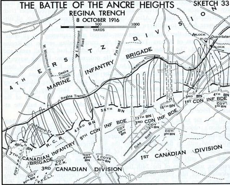 BATTLE OF ANCRE HEIGTHS CANADIAN ARMY WW1 PETIT-DIEULOIS