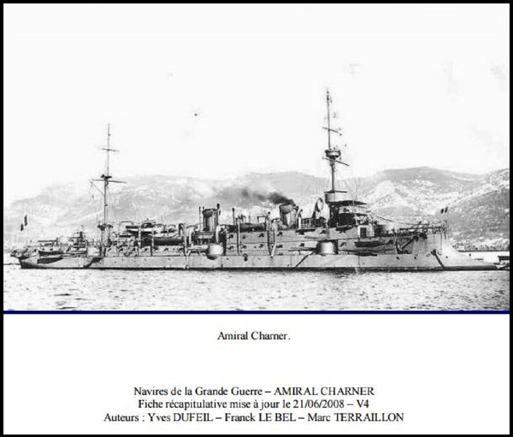 AMIRAL CHARNER SUNK BY U21 8th FEB 1916 DIEULOIS