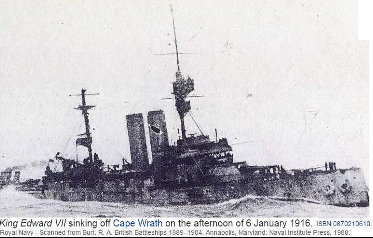 SINKING OF HMS KING EDWARD 7 WW1 1916-JANUARY DIEULOIS