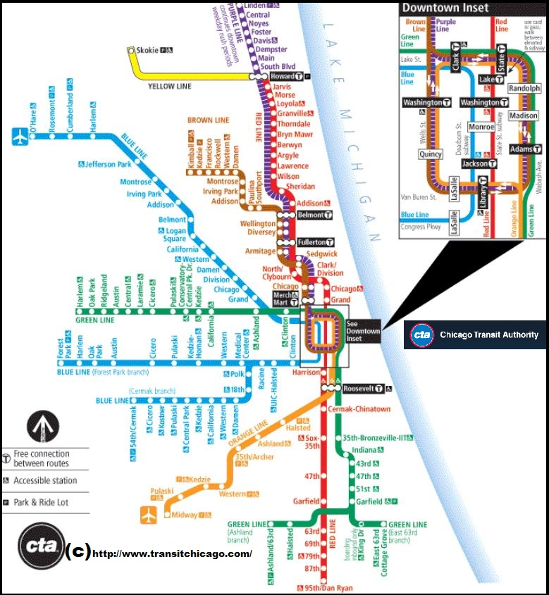 Chicago Subway Map Picture.Chicago Il Chicago Il Plan Metro Chicago Il Metro Chicago Metro