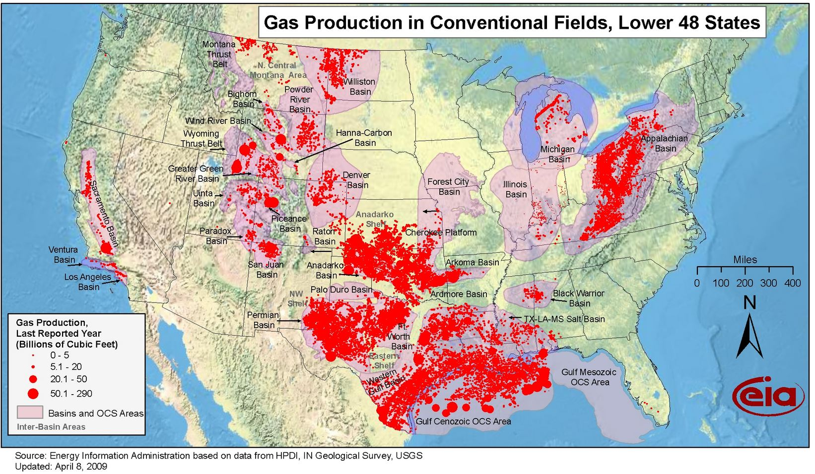 US GAS MAP  (c) EIA PETIT-DIEULOIS