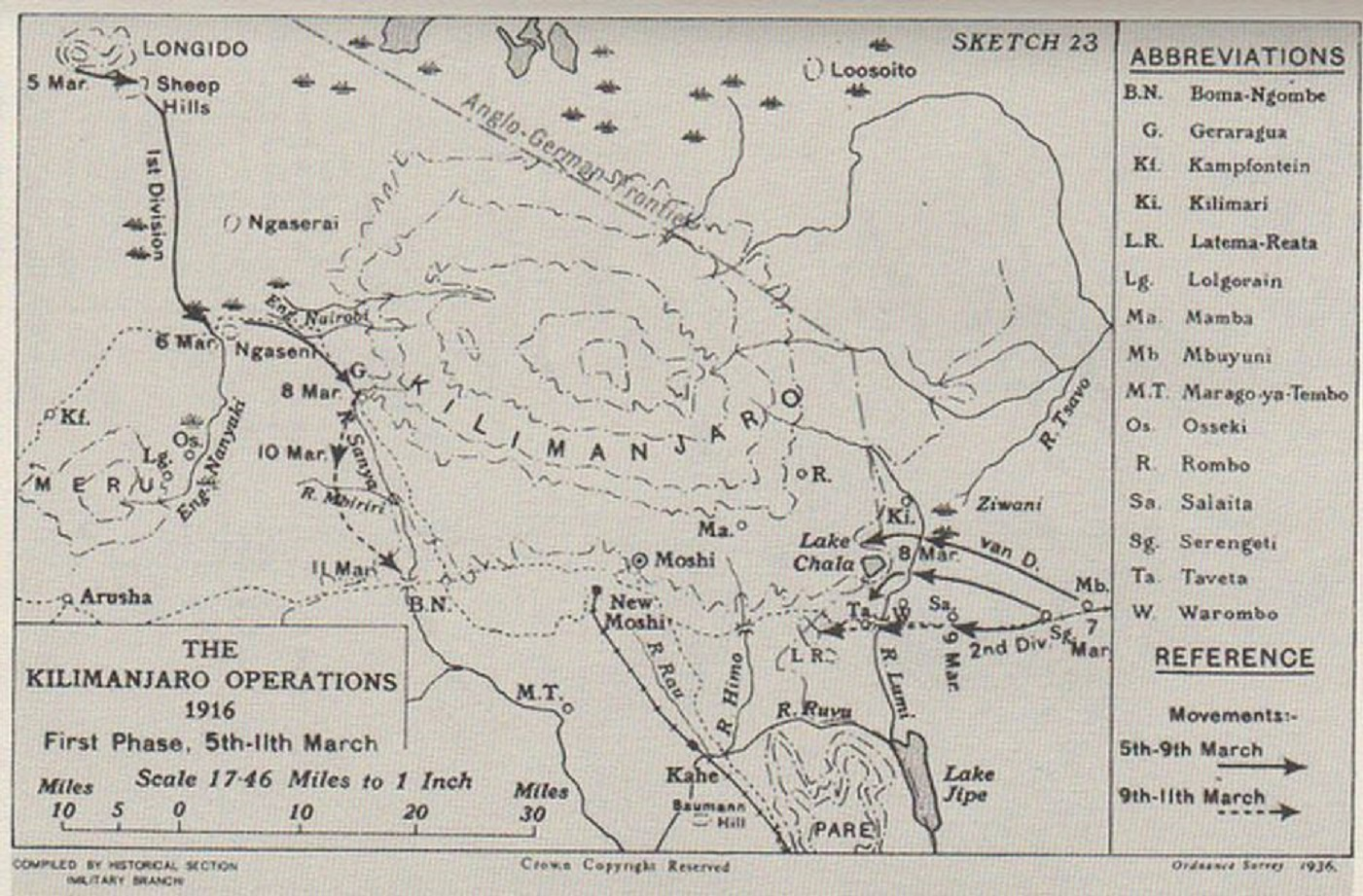 MARCH 1916 : LATEMA-REATA-KILIMANDJARO DIEULOIS
