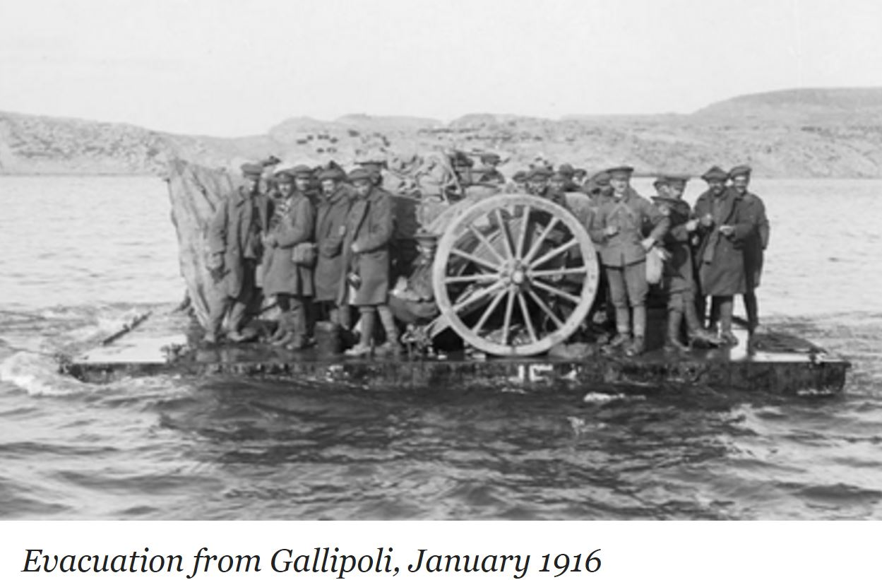 EVACUATION OF GALLIPOLI PENINSULA 1916-JANUARY WW1